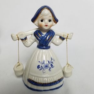 Vintage delft blue milkmaid girl bell
